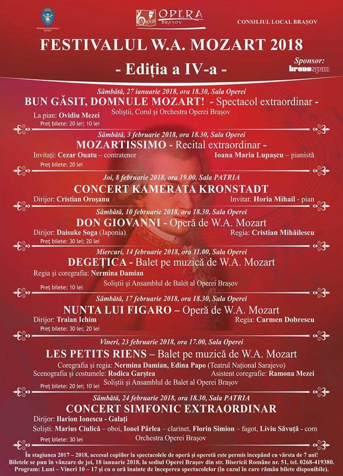 Festivalul W. A. Mozart 2018 – ediţia a IV-a  organizator: Opera Braşov