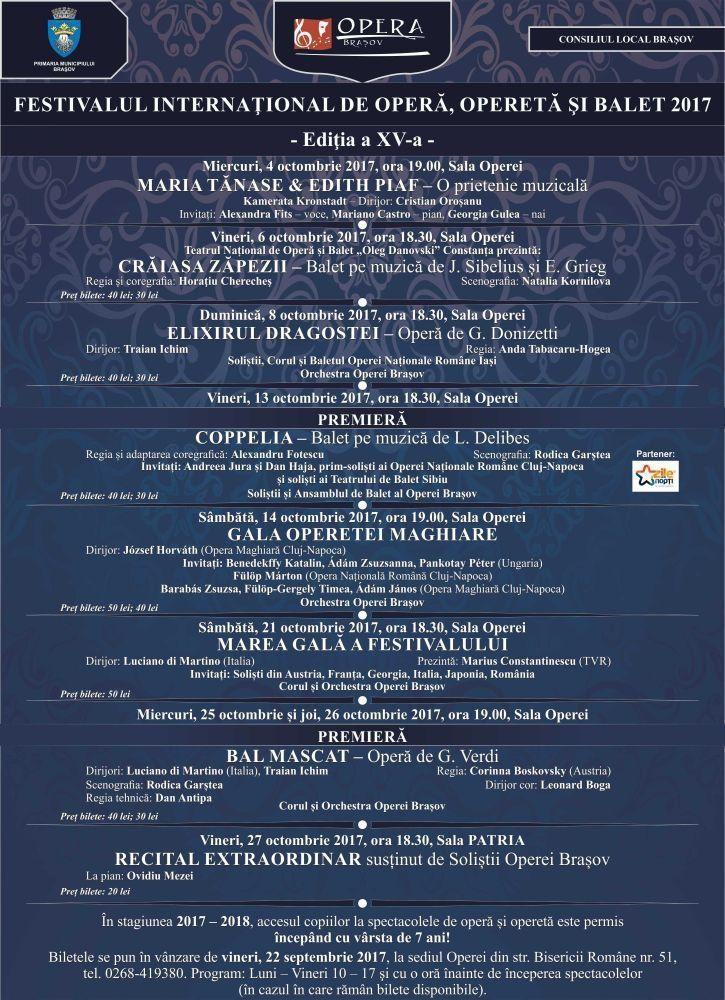 FESTIVALUL INTERNAŢIONAL DE OPERĂ, OPERETĂ ŞI BALET 2016 - Ediţia a XV-a